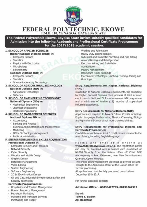 Fed Poly Ekowe Admission Form 2017/2018 is Out [ND & HND]